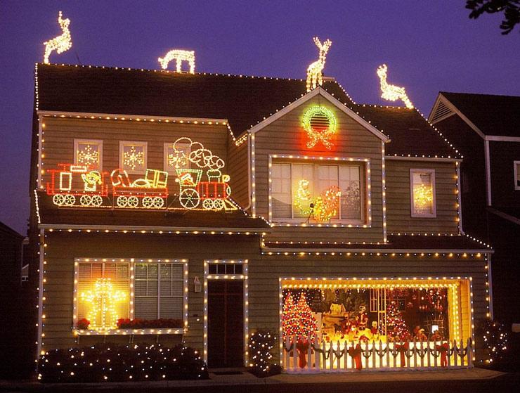 Красочное световое оформление домов и офисов